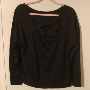 Black  Criss-cross V Neck long sleeve blouse